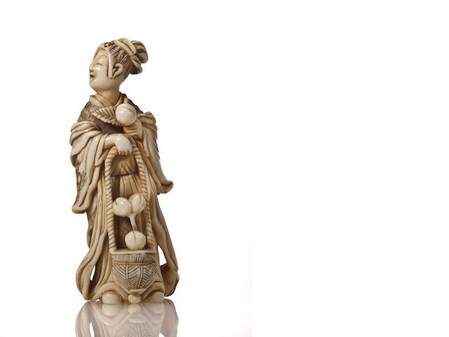 Ivory model of a standing Chinese female immortal