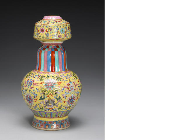 Porcelain Tibetan style vase (benbaping) with over glaze enamel on yellow ground, Jiaqing mark in iron red and possibly of the period, H:29cm (chip to enamel in neck, some over-painting)