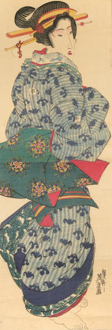 Keisai Eisen (1790-1848)<br>Two kakemono-e