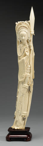 A carved and tinted ivory statue of Mulan 20th century