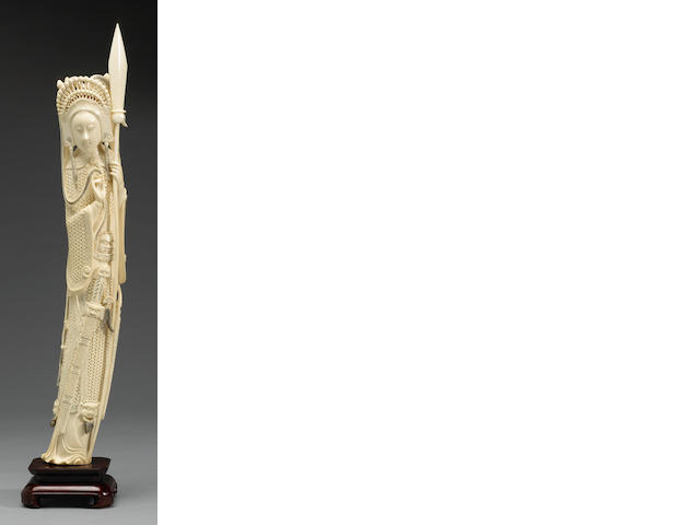 A carved and tinted ivory statue of Mulan19250 20th Century