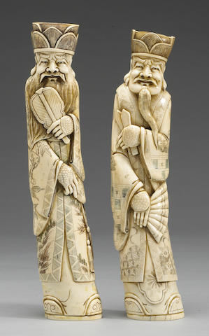 Two ivory figures, 1980's