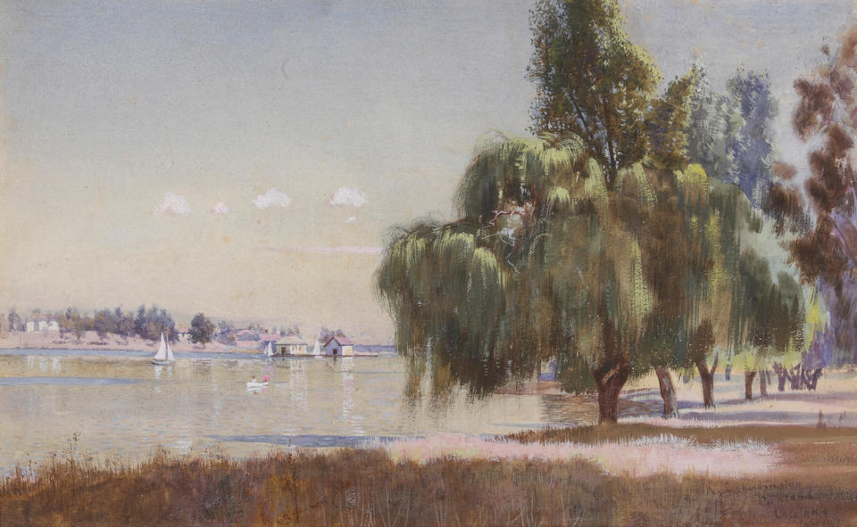 (n/a) Richard Langtry Partington (American, 1868-1929) Views of the Oakland boat basin (a pair) first sight: 9 3/4 x 16in; second sight: 9 3/4 x 15 3/4in