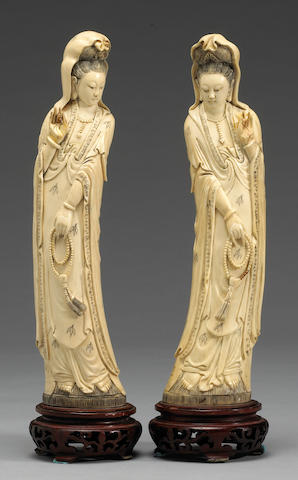 A pair of Chinese carved ?? Guanyin