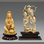 A Chinese ivory warrior maiden on horse, along with a Chinese ivory seated Guanyin