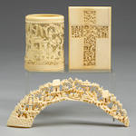 A Chinese export ivory card case, along with an ivory bridge and an ivory reticulated small brush pot