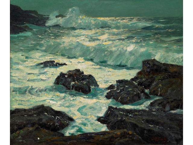 William Frederick Ritschel (American, 1864-1949) Moonbeams, California Coast 25 1/4 x 31 1/4in