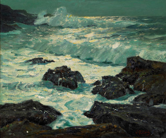(n/a) William Frederick Ritschel (American, 1864-1949) Moonbeams, California Coast 25 1/4 x 31 1/4in