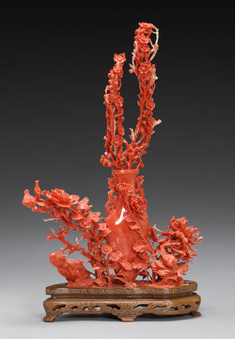 Chinese carved coral branch, 20th century, repairs