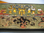 A pair of rare polychrome lacquered and incised wood cricket cage holders Qing Dynasty