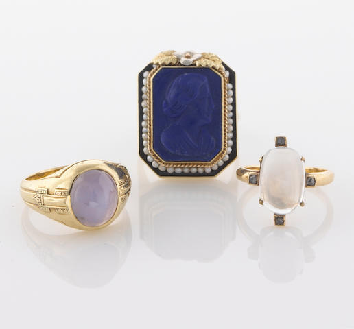 A collection of three star sapphire, moonstone, lapis lazuli cameo, seed pearl, diamond and 14k gold rings