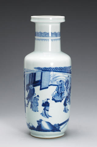 A blue and white porcelain rouleau vase 19th Century