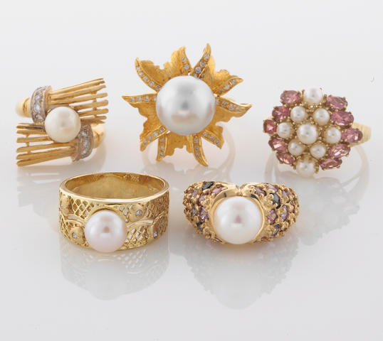 A collection of five cultured pearl, diamond, gem-set, 18k, 14k and 10k gold rings