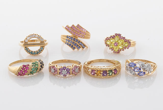 A collection of seven gem-set, diamond, 10k and 14k gold rings