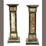 A pair of Louis XVI style bi-colour bronze mounted marble pedestals