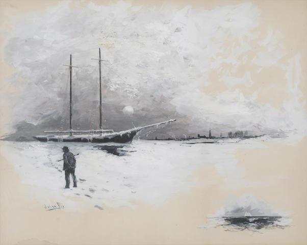Julian Walbridge Rix (American, 1850-1903) Schooner in ice with city in the distance 21 x 28in