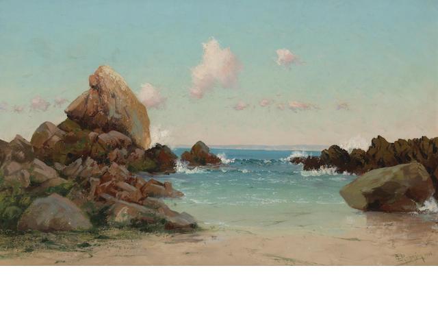 Charles Dormon Robinson (American, 1847-1933) Beach scene, Monterey Peninsula, 1906 16 x 26in