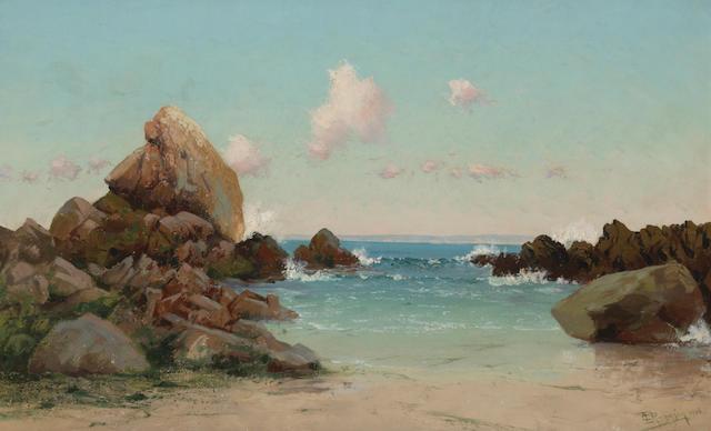 (n/a) Charles Dormon Robinson (American, 1847-1933) Beach scene, Monterey Peninsula, 1906 16 x 26in