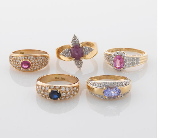 A group of 5 gem-set and diamond rings in 14K, 21.1g