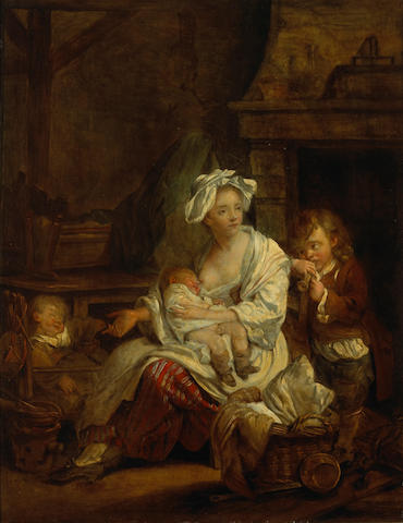 After Jean-Baptiste Greuze A young mother with her children 18 x 14in