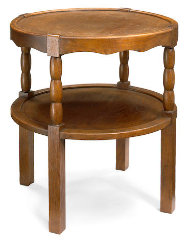 A Charles Dudouyt oak two tier side table 1930s