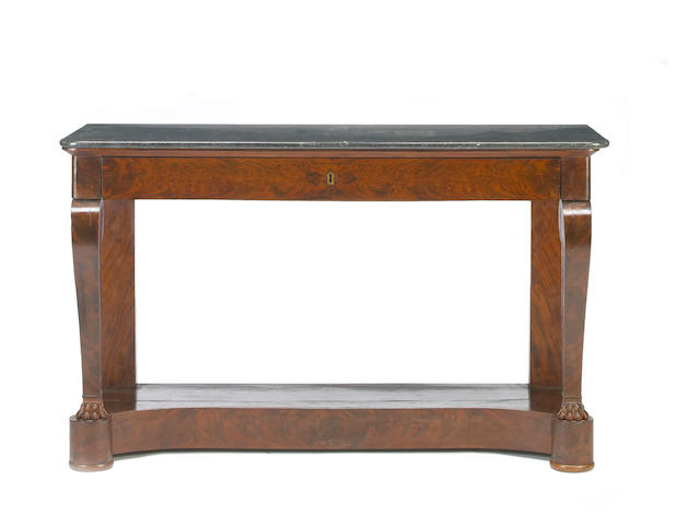 ? Neoclassical mahogany marble top console table, if 19th century