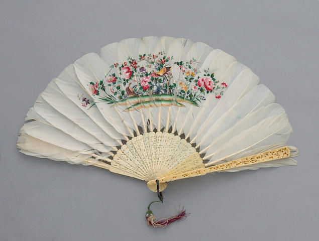 A reticulated export ivory and painted feather fan 19th century