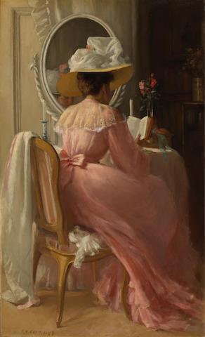 Patrick William Adam, RSA (British, 1854-1929) A lady in pink 44 1/4 x 26 3/4in (112.4 x 68cm)