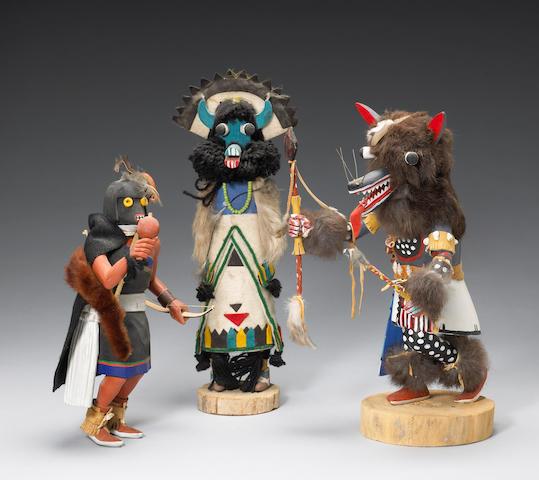 Three Pueblo kachina dolls