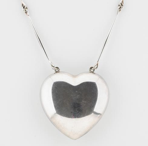 A silver heart motif necklace, G. Jensen (Astrid Fog, 126)