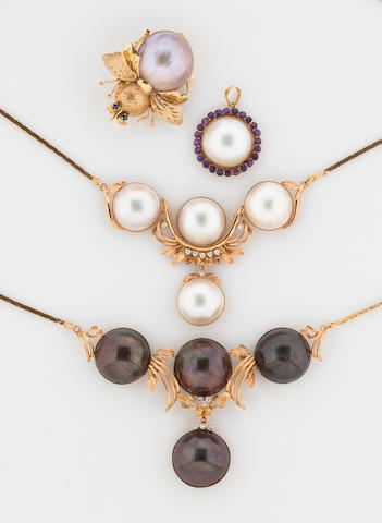 A group of 4 mabe pearl and diamond, ame, sapphire jewelry in 14K 66.1g (2 necklaces, 1 pendant, 1 pin)