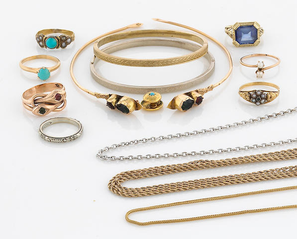 A miscellaneous collection of gem-set, seed pearl, 10k, 14k and 18k gold jewelry