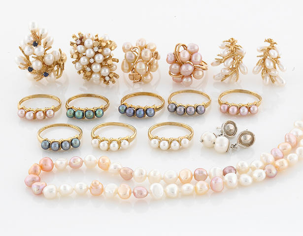 A collection of cultured pearl, colored cultured pearl, sapphire, diamond, 14k, 10k, gold filled and silver jewelry