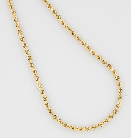 A 14k gold rope chain
