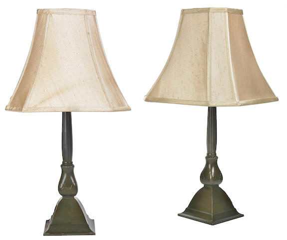 A pair of Just Andersen diskometal table lamps 1930s