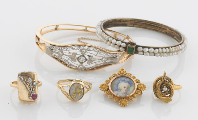 A collection of five antique seed pearl, paste, diamond, ruby, painted portrait, silver and 14k gold jewerly together with a gold in matrix and 14k gold ring