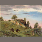 American School (20th Century) Buffalo on a hill 9 1/2 x 12 1/4in