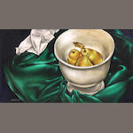 J. White Still life with pears in a bowl 10 1/2 x 19 1/2in