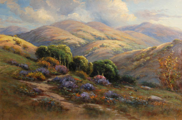 Manuel Valencia (American, 1856-1935) California wildflowers on rolling hills 20 x 30in