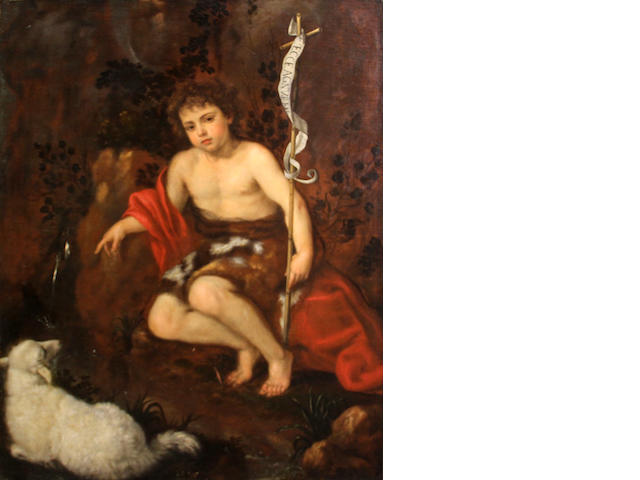 Italian School, 17th Century (SENDING TO BK) The St. John the Baptist 51 3/4 x 41in (131.5 x 104.1cm) unframed