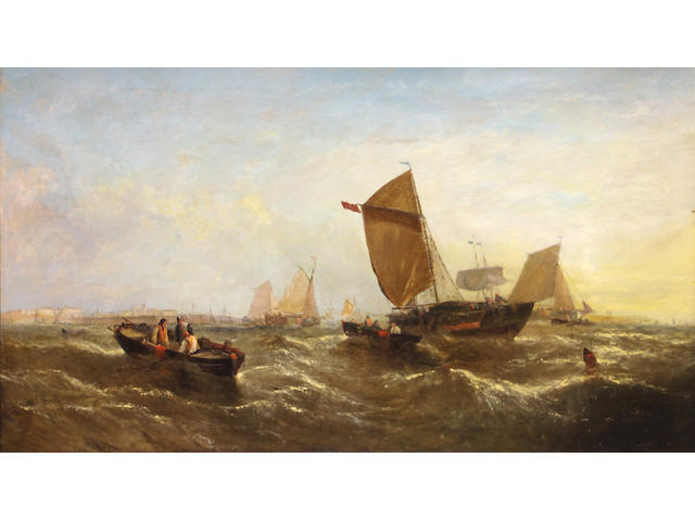 William Callcott Knell (British, 1830-1876) Morning: fishing boats off the coast 30 x 50in