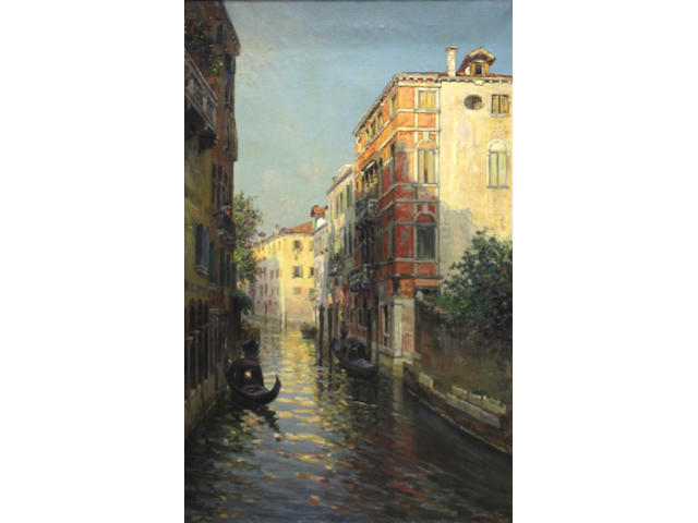 Bernardo Hay (British, born 1864) A quiet Venetian canal 37 1/2 x 23 3/4in