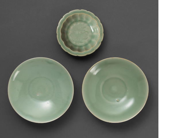 A group of three Longquan celadon dishes 13th/14th Century