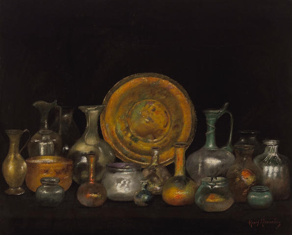 Henry Alexander (American, 1860-1894) Still life with Phoenician glass 22 1/4 x 27 1/4