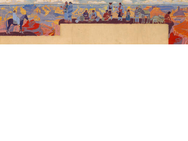 Winold Reiss (1886-1953) Grand Canyon mural sketch sight: 6 1/2 x 28in