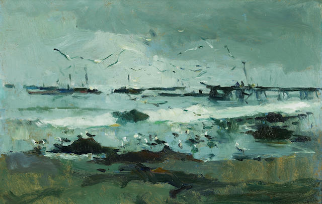 Armin Hansen (American, 1886-1957) Beach at Monterey, 1913 (double-sided) 14 1/4 x 19 3/4in
