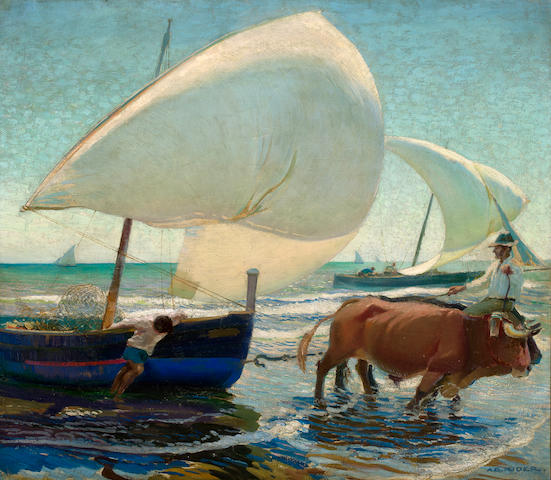 Arthur Grover Rider (American, 1886-1975) Boats at Valencia 43 3/4 x 49 1/2in