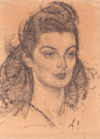 Nikolai Fechin (Russian, 1881-1955) Portrait of Ellen  15 3/4 x 11 3/4in