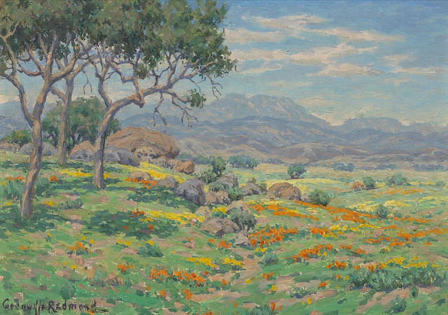 Granville Redmond (American, 1871-1935) California wildflowers in an extensive landscape 7 x 10in