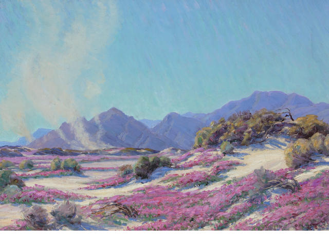 Arthur M. Hagard (American, 20th century) Pink wildflowers in a landscape with a dust devils in the distance, 1926 24 x 34in